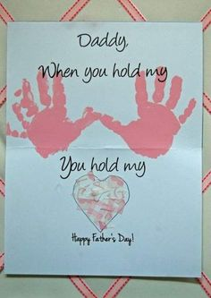 "Leave out ""Daddy"" 40 DIY Father's Day Card Ideas and Tutorials for Kids.Handprint Happy Father's Day Ca Baby Crafts, Toddler Crafts, Preschool Crafts, Crafts For Kids, Kids Diy, Baby Handprint Crafts, Diy Father's Day Gifts, Father's Day Diy, Craft Gifts"