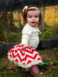 Baby girl Christmas outfit Chevron skirt Holiday by rockabutt, $85.00 #diy #crafts