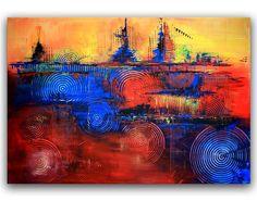 BURGSTALLER ORIGINAL abstrakt Acryl Gemälde Leinwand Bilder rot blau gelb 90x130