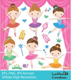 Ballerina Girls Digital Clip Art by LocklessCreations on Etsy, $3.00