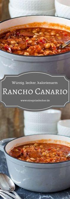 Rancho Canario, würziger canarischer Eintopf mit Chorizo, Kichererbsen, Bohnen und viel mehr. Auch als vegetarische/vegane Variante möglich.