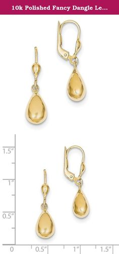 10k Polished Fancy Dangle Leverback Earrings. Product Description Material: Primary - Purity:10K Finish:Polished Length of Item:29 mm Feature:Semi-Solid Manufacturing Process:Stamping Material: Primary:Gold Width of Item:7 mm Product Type:Jewelry Jewelry Type:Earrings Sold By Unit:Pair Material: Primary - Color:Yellow Earring Closure:Leverback Earring Type:Drop & Dangle.