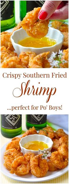 Southern Fried Shrimp Po' Boy These beautifully seasoned crispy shrimp are very versatile. Have them with oven baked wedge fries for dinner, dipped in garlic butter for party finger food, or piled high in a classic New Orleans Po' Boy Sandwich. Fish Recipes, Seafood Recipes, Cooking Recipes, Healthy Recipes, Fried Shrimp Recipes, Sauce Recipes, Shrimp Meals, Food Shrimp, Shrimp Po Boy