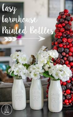 These easy farmhouse painted bottles are so simple to make and add such a beautiful touch to any room or table! | Our Three Peas