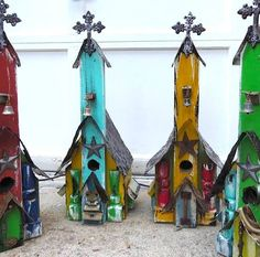 Small isn't so small after all, just over 2 ft. tall, only one of each design was created for this round! Rustic birdhouses feature aged wood with vintage accents for old world character indoors or in