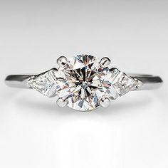 Vintage Diamond Engagement Ring w/ Kite Cut Accents Platinum 1950's