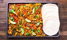 Baked Chicken Fajitas are a delicious one-pan dinner, a healthy and easy way to feed a crowd with minimal cleanup. See how to make them!