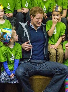 Harry and school children in New Zealand. What a great uncle he must be!