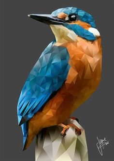 Children's Art Paintings – Viral Gossip Arte Pop, Art And Illustration, Paint Swatch Art, Triangle Art, Polygon Art, Kingfisher, Art Design, Geometric Art, Animal Design