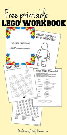 Free Printable LEGO Workbook | One Mama's Daily Drama --- 5 pages of fun LEGO activities for kids! Includes coloring and puzzles.