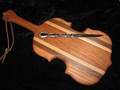 Fiddle cutting board w/knife by Fiddlekate (Katie Waller), via Flickr