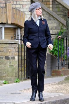 Busy: Diane Keaton proved she wasn't one to slacken the pace as she stepped out for a second time after a costume change on Sunday to continue filming on the set of her latest movie Hampstead