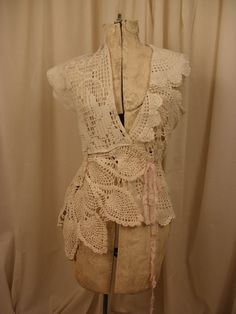 Lace Jacket Created from Vintage Doilies with Vintage Pearls and Rhinestone Button