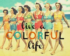 Color Photography typography inspirational print LIVE a COLORFUL LIFE 11x14 quote aqua red Beach Retro gift wall art home decor