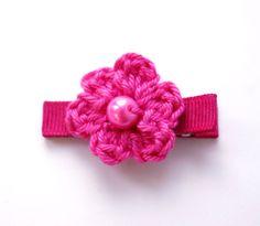 Crochet Flower Alligator Hair Clip in Bright by upinthefarawaytree, £1.00
