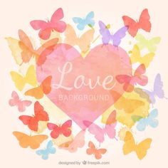 Watercolor heart with butterflies background Free Vector