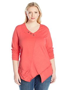 Neon Buddha Womens Plus Size Dalton Pullover 34 Sleeved Coral 3X   Learn  more by visiting 0993040482