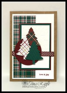 Perfectly Plaid for the Avid Stamper - Stampin' Studio Here's a a Christmas card with a down home look and feel to it. The Perfectly Plaid Bundle and Winter Knit Embossing Folder do the trick. Stamped Christmas Cards, Christmas Card Crafts, Homemade Christmas Cards, Christmas Cards To Make, Xmas Cards, Homemade Cards, Holiday Cards, Christmas Greetings, Handmade Christmas