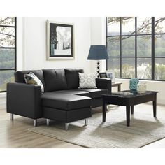 Have comfortable and stylish seating available with the Small Spaces Configurable Sectional Sofa. This configurable sofa combines a clean track arm design with tailored faux leather.