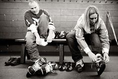 hockey themed engagement photos