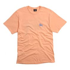 Stussy Basic Stussy T-Shirt Peach ($28) ❤ liked on Polyvore featuring tops, t-shirts, cotton tee, logo top, logo design t shirts, red t shirt and peach top