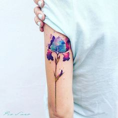 Watercolor Iris Tattoo by Pis Saro