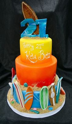 Surf-themed cake