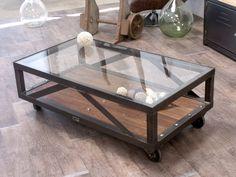 Table basse verre - bois - métal au design industriel sur mesure