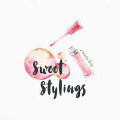 Premade Logo Design, Pink Lip Gloss Logo, Makeup Artist, Beauty Blog, Cosmetics Logo, Small Business Logo