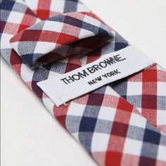 Thom Browne red, white and blue plaid tie.