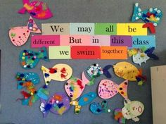 Rainbow Fish community building activity We May All Be Different… Teaching Photos School Displays, Classroom Displays, Classroom Organization, Classroom Decor, Display Boards For School, Class Displays, Beginning Of School, First Day Of School, Back To School