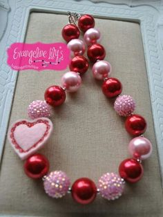 Valentines Day Red and Pink Chunky Bead Necklace