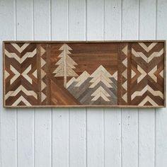 Reclaimed wood wall art, mountains, geometric art