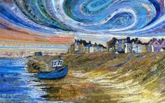 Commissioned Embroidered textile of #Aldeburgh #Suffolk by Rachel Wright #seafront #textile #art #stitch