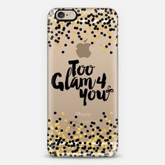 """""""Too Glam 4 You - Black and Yellow Gold"""" by Artist Julia Di Sano, Ebi Emporium on @casetify, Black Gold Color Sparkle #Glamorous #Chic #PolkaDots #Typography Quote #Style #Fashion #Feminine Modern #Girly Pattern Lovely Art #iPhoneCase #iPhone5 #iPhone6 #iPhone6s #iPhone6plus #iPhone6sPlus #iPhone5c #SamsungGalaxy #android #tech #shimmer #glam #sparkle #transparent #case #gold #metallic"""