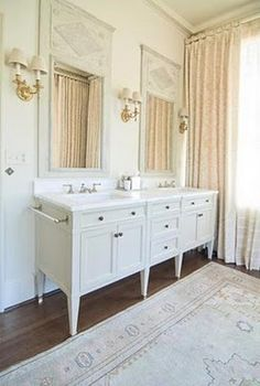 Mirrors and Vanity - Love the look of furniture instead of built-ins.