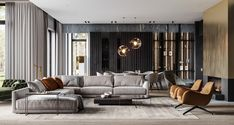 luxury home accents Luxury home with a modern glamorous interior. A cool grey colour scheme with gold and green decor accents, modern furniture, and unique designer lighting ideas. Apartment Interior Design, Living Room Interior, Luxury Home Decor, Luxury Homes, Loft Stil, Indian Living Rooms, Living Comedor, Luxury Living, Modern Interior