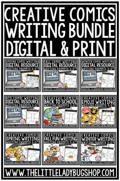 You will love this Creative Comics Writing Prompts Bundle with Print and Digital Sets! This is an all access Comics Writing Packet. Your students will love having the choices provided in this fun and interactive bundle! Writing Prompts in google slides and print perfect for students in 3rd grade, 4th grade, 5th grade and home school classrooms. #writingprompts #digitalwritingactivities