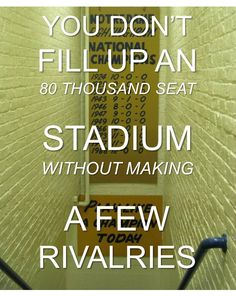 "University of Notre Dame - ND - Fighting Irish - You Don't Fill Up An 80 Thousand Seat Stadium Without Making A Few Rivalries. Like the Irish? Be sure to check out and ""LIKE"" my Facebook Page https://www.facebook.com/HereComestheIrish Please be sure to upload and share any personal pictures of your Notre Dame experience with your fellow Irish fans!"