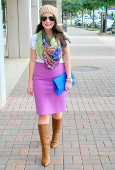 skirt + tee + scarf + tall boots