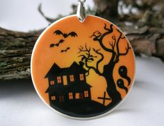 Haunted Castle Halloween Polymer Clay Necklace by ArtHarmony #RussianArtists, #RussianArtistsTeam, #Halloween