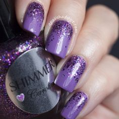 Check out our amazing collection of glitter ombre nails to get inspired. We will also show you all the latest trends in the world of manicure. Cute Pink Nails, Pretty Nails, Purple Nails, Nice Nails, Trendy Nail Art, New Nail Art, Gel Nails, Nail Polish, Nail Nail