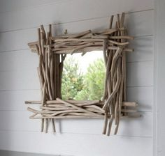 Beautiful Mirrors for Your Bedroom - - Tips and ideas to help in choosing the perfect mirror for bedrooms combining practicality and good looking with tips on how to place it. Driftwood Mirror, Diy Mirror, Beautiful Mirrors, Beautiful Bathrooms, Homemade Wall Art, Twig Furniture, Driftwood Projects, Branch Decor, Rustic Frames