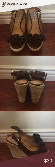 Steven Madden Brown Espadrille Wedges Steven Madden Brown Espadrille Wedges. Worn Once In Amazing Condition! Size 6.5. I Do Not Have Original Box Steve Madden Shoes Wedges