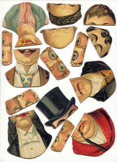 Collage sheet of mix-and-match face segments. Creative Common license (detailed in link). Paper Puppets, Paper Toys, Collage Sheet, Collage Art, Collages, Paper Art, Paper Crafts, Images Vintage, Vintage Paper Dolls