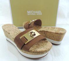 Women's Michael Kors WARREN PLATFORM Wedge Sandals Leather Luggage Size 7.5 #MichaelKors #Slides #Casual