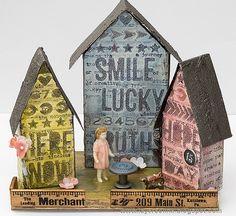 Word Village Tutorial Tim Holtz Tiny Houses