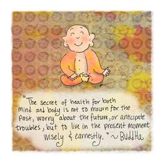 """'Present"""" by Molly Cules, Buddha Doodles via huffingtonpost #Present #MIndfulness"""