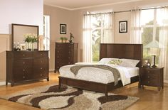 This transitional bedroom collection features a low profile bed, with an extra tall dresser and rich wood grain finish.  SKU: CST202451 Collection