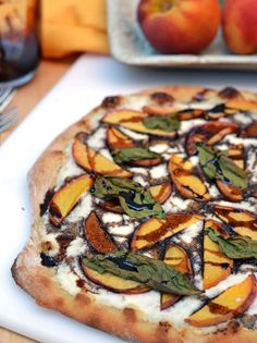 Ricotta Pizza with Peaches, Basil, and sweet Balsamic Reduction.